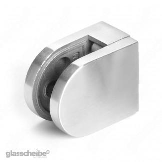 Edelstahlhalterung für Glasscheiben 10mm  rund gebürstet