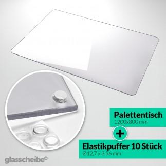Palettentischglas 1200 x 800 x 6 mm Grauglas