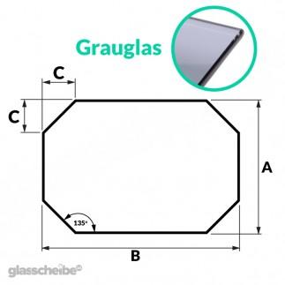 Tischglas Achteck - ESG Grauglasplatten