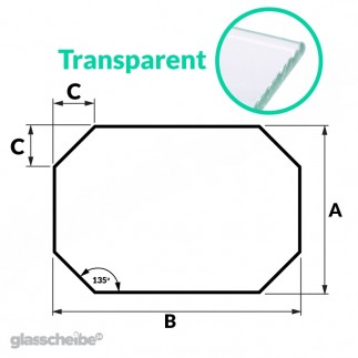 Tischglas Achteck - ESG Transparent
