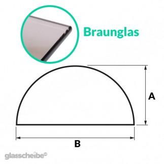 Tischglas Halbkreis - ESG Braunglasplatte