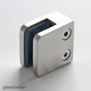 Edelstahlhalterung für Glasscheiben 6mm rechteck gebürstet