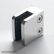 Edelstahlhalterung für Glasscheiben 6mm rechteck poliert