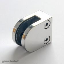Edelstahlhalterung für Glasscheiben 8mm  rund poliert