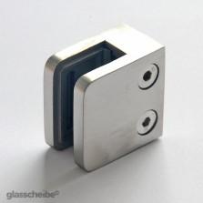 Edelstahlhalterung für Glasscheiben 10mm rechteck gebürstet