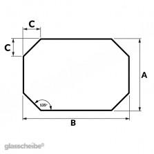 Tischglas Achteck - ESG Satiniert