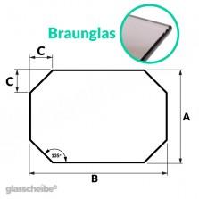 Tischglas Achteck - ESG Braunglasplatte