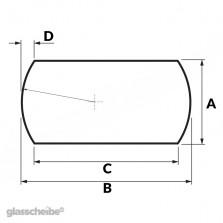 Tischglas Bogen - ESG Satiniert