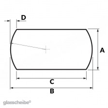 Tischglas Bogen - ESG Grauglasplatten