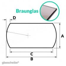 Tischglas Bogen - ESG Braunglasplatte
