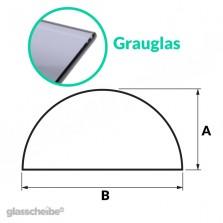 Tischglas Halbkreis - ESG Grauglasplatte